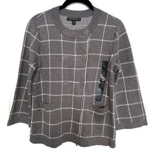 BR Gray Windowpane Double Breasted Sweater Sz XS